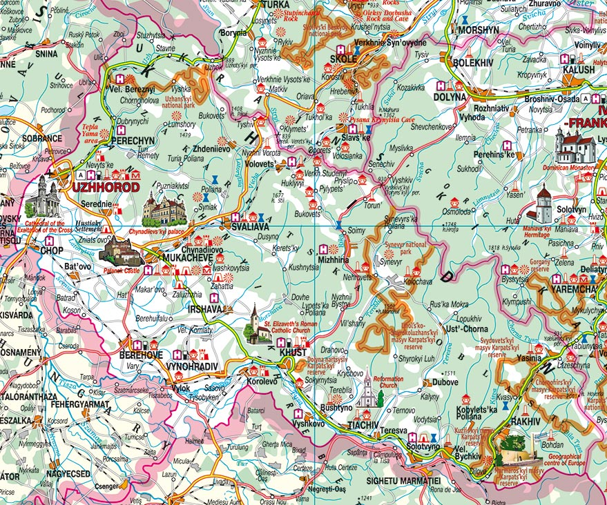 Holidays In The Carpathians Zakarpattia Oblast Oblast Farmsteads - Uzhhorod map