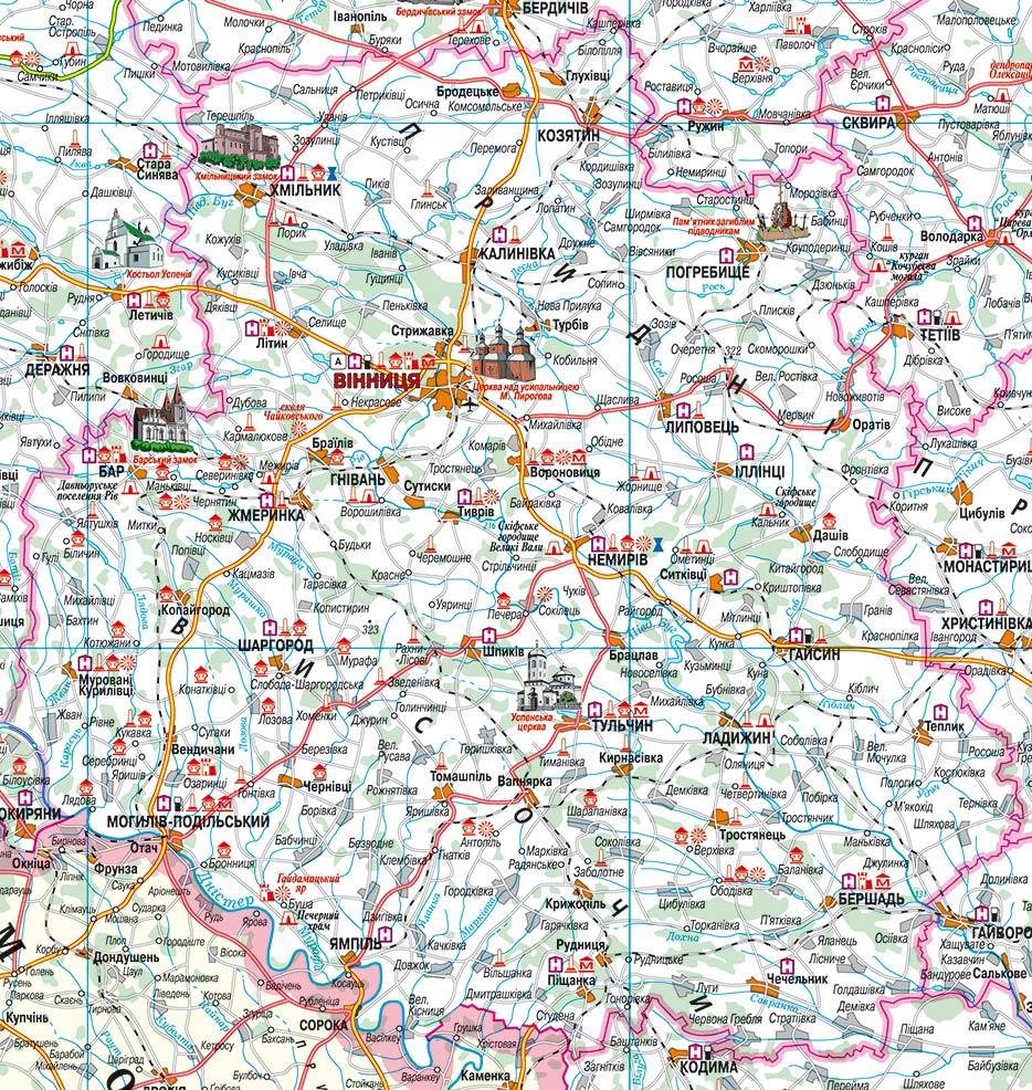 Вінницька область туристична карта